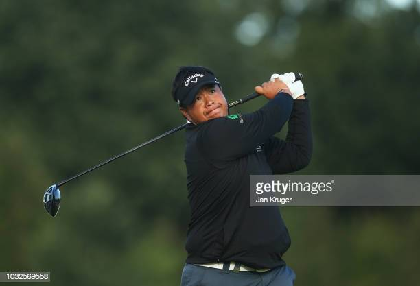 Kiradech Aphibarnrat of Thailand tees off on the 13th hole during day one of the KLM Open at The Dutch on September 13 2018 in Spijk Netherlands