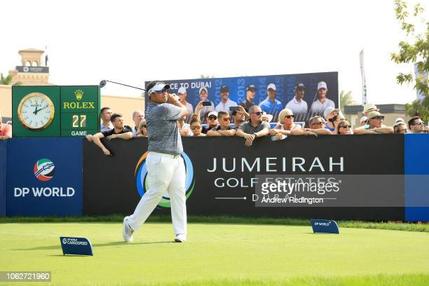 Kiradech Aphibarnrat of Thailand tees off on the 1st hole during day three of the DP World Tour Championship at Jumeirah Golf Estates on November 17...