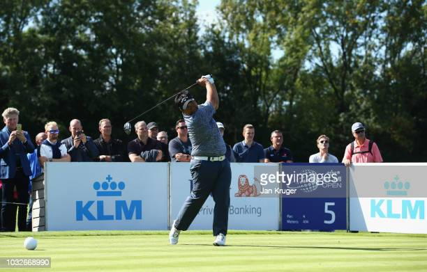 Kiradech Aphibarnrat of Thailand tees off on the 5th hole during day one of the KLM Open at The Dutch on September 13 2018 in Spijk Netherlands