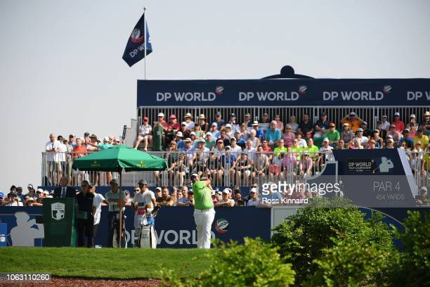 Kiradech Aphibarnrat of Thailand tees off the 1st hole during day four of the DP World Tour Championship at Jumeirah Golf Estates on November 18 2018...