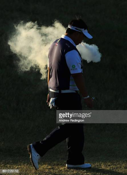 Kiradech Aphibarnrat of Thailand walks on the 10th hole during day two of the Portugal Masters at Dom Pedro Victoria Golf Club on September 22 2017...