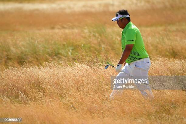 Kiradech Aphibarnrat of Thailand walks through the rough on the 15th hole during the final round of the 147th Open Championship at Carnoustie Golf...