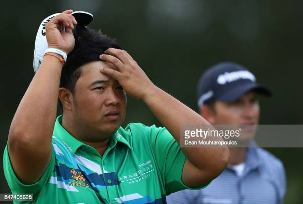 Kiradech Aphibarnrat of Thailand walks up the 7th hole during day two of the KLM Open at The Dutch on September 15 2017 in Spijk Netherlands