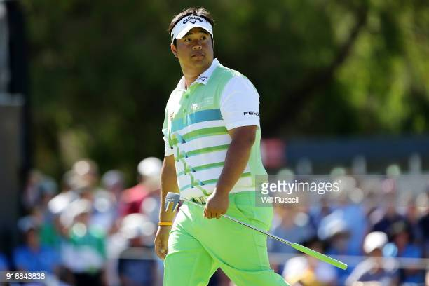 Kiradech Aphibarnrat of Thailand walks up to the green on the 6th hole in the second semi final match against Lucas Herbert of Australia during day...