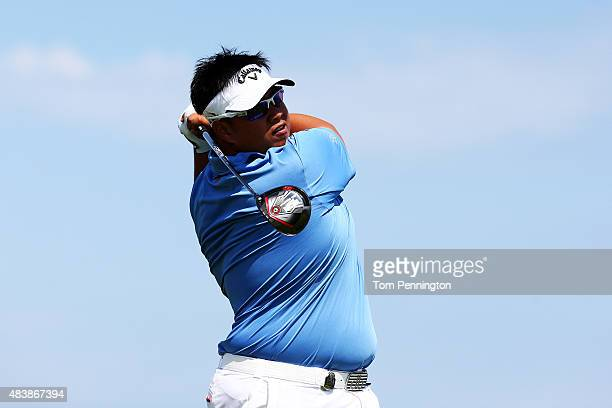 Kiradech Aphibarnrat of Thailand watches his tee shot on the 14th hole during the first round of the 2015 PGA Championship at Whistling Straits on...