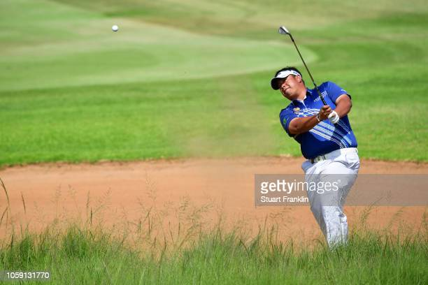 Kiradech Aphibarnrat of Thialand in action during day one of the Nedbank Golf Challenge at Gary Player Golf Course on November 8 2018 in Sun City...