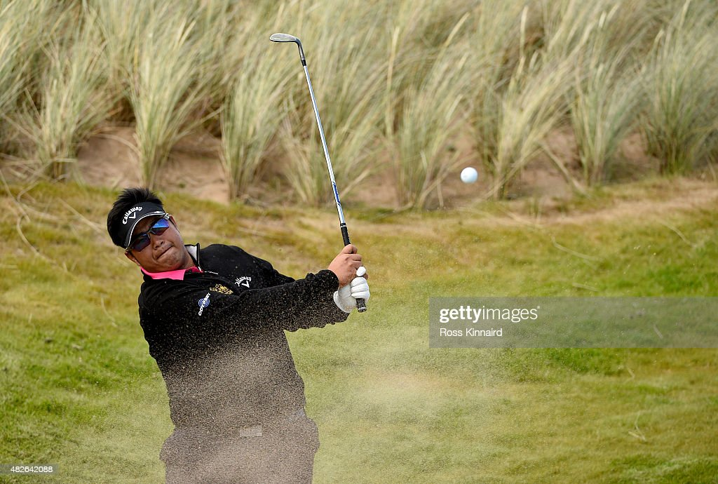 Kiradech Aphibarrnrat of Thaoland on the par three 5th hole during his match against Michael Hoey of Northern Ireland in the Quater Final of the Saltire Energy Paul Lawrie Matchplay at Murcar Links Golf Course on August 1, 2015 in Aberdeen, Scotland.