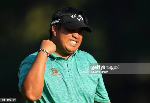 Kiradech Aphinbarnrat of Thailand celebrates an aproach shot during the final round of the 2017 Italian Open at Golf Club Milano Parco Reale di Monza...
