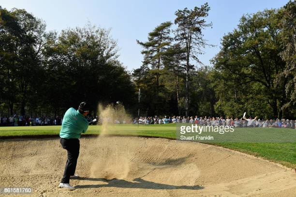 Kiradech Aphinbarnrat of Thailand in action during the final round of the 2017 Italian Open at Golf Club Milano Parco Reale di Monza on October 15...