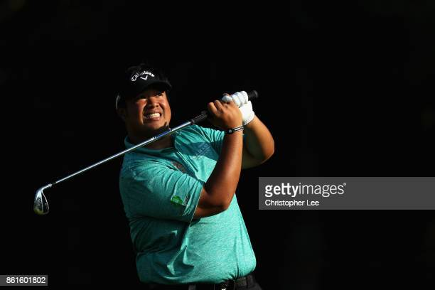 Kiradech Aphinbarnrat of Thailand reacts to his shot during the final round of the 2017 Italian Open at Golf Club Milano Parco Reale di Monza on...