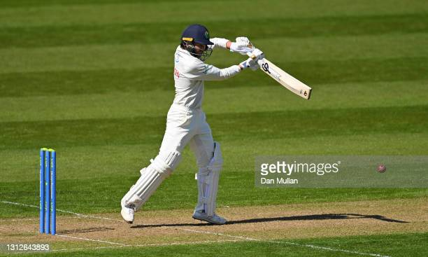 Kiran Carlson of Glamorgan bats during day one of the LV= County Championship match between Glamorgan and Sussex at Sophia Gardens on April 15, 2021...