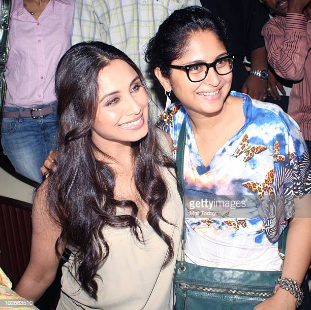 Kiran Rao and Rani Mukherjee during the music launch of Aamir Khan's forthcoming movie 'Peepli Live' in Mumbai on July 13 2010