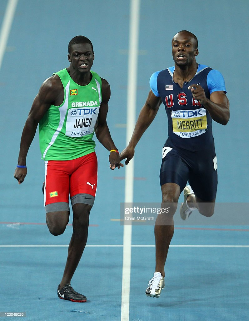 Kirani James (L) of Grenada and LaShawn Merritt of United State compete in the men's 400 metres final during day four of the 13th IAAF World Athletics Championships at the Daegu Stadium on August 30, 2011 in Daegu, South Korea.