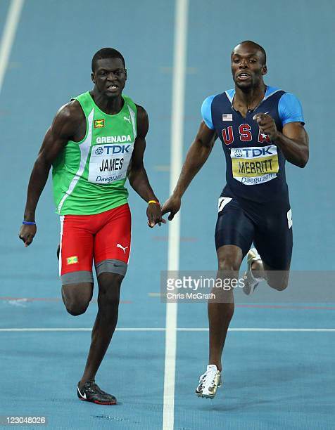 Kirani James of Grenada and LaShawn Merritt of United State compete in the men's 400 metres final during day four of the 13th IAAF World Athletics...