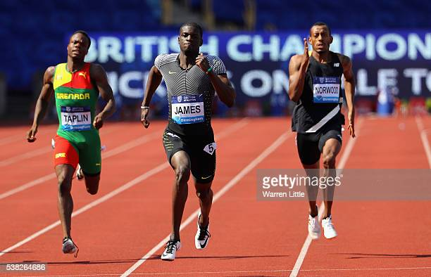 Kirani James of Grenada beats Bralon Taplin of Grenada and Vernon Norwood of of the USA to win the Men's 400m Final during the Birmingham Diamond...