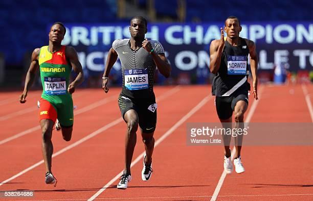 Kirani James of Grenada beats Bralon Taplin of Grenada and Vernon Norwood of of the USA to win the Men's 400m Final during the Birmingham Diamond...