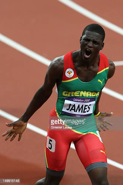 Kirani James of Grenada celebrates after winning the gold medal in the Men's 400m final on Day 10 of the London 2012 Olympic Games at the Olympic...