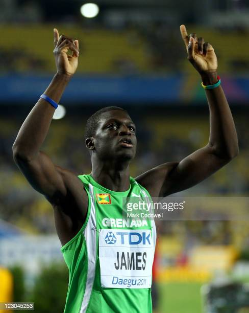 Kirani James of Grenada celebrates claiming gold in the men's 400 metres final during day four of the 13th IAAF World Athletics Championships at the...