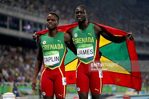 Kirani James of Grenada celebrates placing second with Bralon Taplin of Grenada after the Men's 400m Final on Day 9 of the Rio 2016 Olympic Games at...