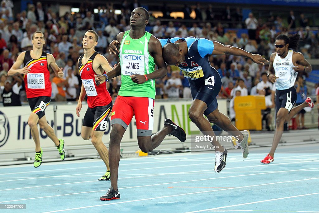 Kirani James (C) of Grenada crosses the finish line ahead of (L-R) Jonathan Borlee of Belgium, Kevin Borlee of Belgium, LaShawn Merritt of United States and Tabarie Henry of United States Virgin Islands in the men's 400 metres final during day four of the 13th IAAF World Athletics Championships at the Daegu Stadium on August 30, 2011 in Daegu, South Korea.