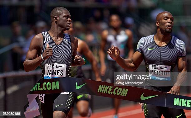 Kirani James of Grenada left defeats LaShawn Merritt of the United States right in the 400 meters at Hayward Field on May 28 2016 in Eugene Oregon