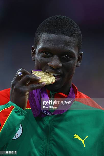 Kirani James of Grenada poses on the podium during the medal ceremony for the Men's 400m on Day 11 of the London 2012 Olympic Games at Olympic...