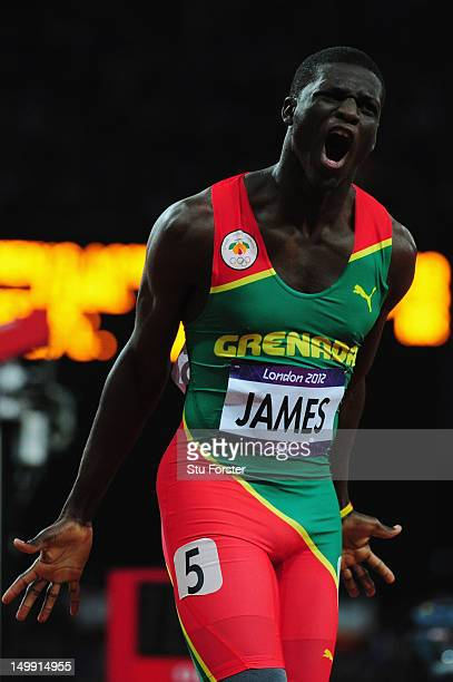Kirani James of Grenada reacts after he crosses the finish line to win the gold medal in the Men's 400m final on Day 10 of the London 2012 Olympic...