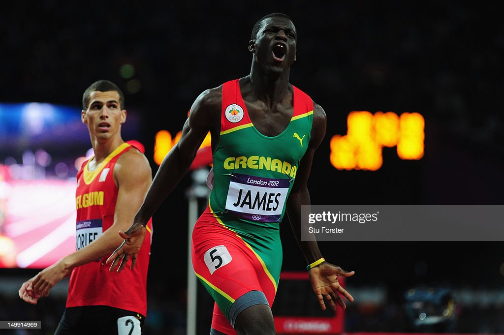 Kirani James of Grenada reacts after winning the gold medal in the Men's 400m final on Day 10 of the London 2012 Olympic Games at the Olympic Stadium on August 6, 2012 in London, England.