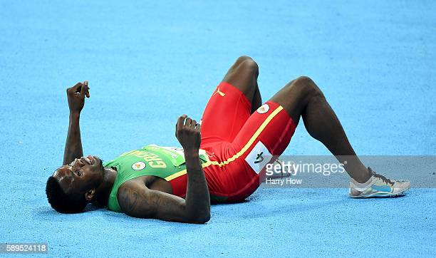Kirani James of Grenada second place celebrates after winning the Men's 400 meter final on Day 9 of the Rio 2016 Olympic Games at the Olympic Stadium...