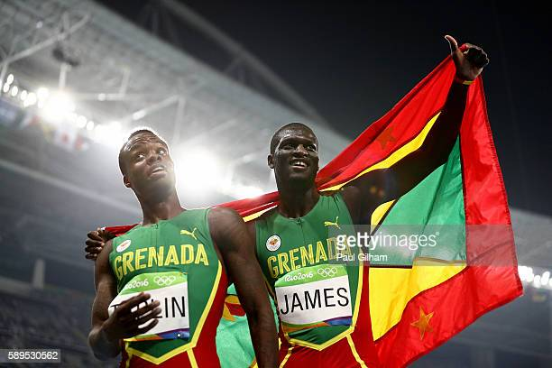 Kirani James of Grenada second place celebrates with Bralon Taplin of Grenada after winning the Men's 400 meter final on Day 9 of the Rio 2016...