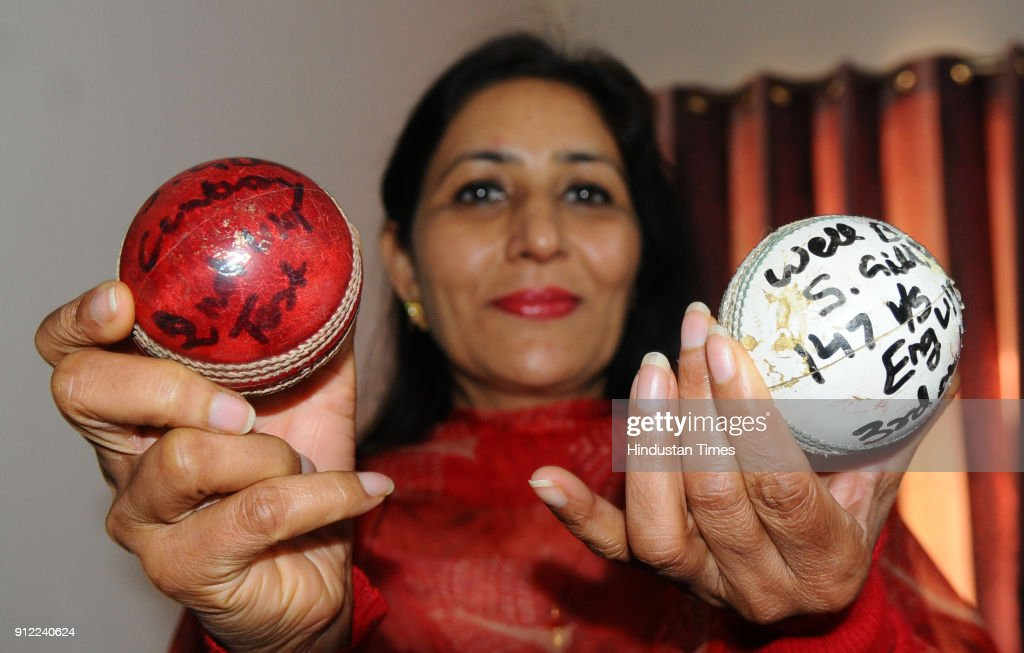 Kirath Gill mother of Cricketer Shubman Gill showing her son's autographed Balls at her home Sector 70 in SAS Nagar on January 30 2018 in Mohali..