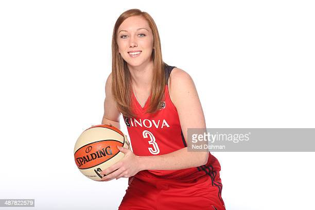 Kirby Birkholder of the Washington Mystics pose for a photo during 2014 Washington Mystics media day at the Verizon Center on April 28 2014 in...