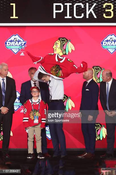 Kirby Dach is picked third overall by the Chicago Blackhawks during Round One of the 2019 NHL Draft at Rogers Arena on June 21 2019 in Vancouver...