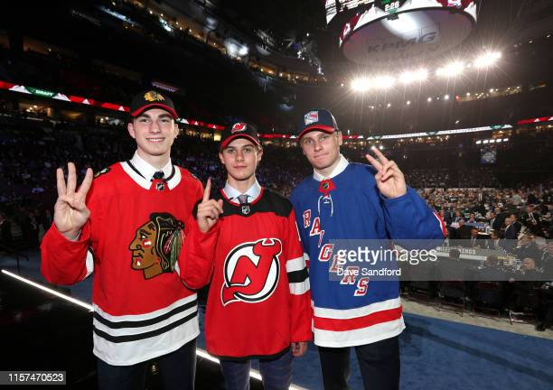 Kirby Dach third overall pick by the Chicago Blackhawks Jack Hughes first overall pick by the New Jersey Devils and Kaapo Kakko second overall pick...