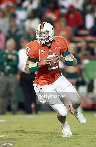 Kirby Freeman of the University of Miami Hurricanes looks to pass the ball during the game against the Boston College Golden Eagles at the Orange...