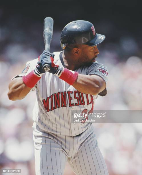 Kirby Puckett Centerfielder for the Minnesota Twins at bat during the Major League Baseball American League West game against the California Angels...