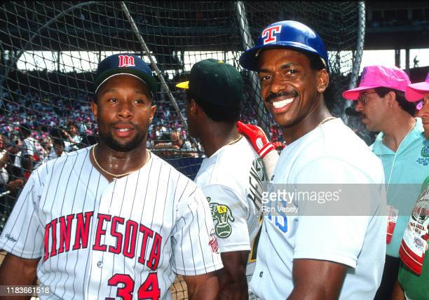 Kirby Puckett of the Minnesota Twins and Julio Franco of the Texas Rangers pose before the MLB All Star Game at Jack Murphy Stadium in San Diego CA...
