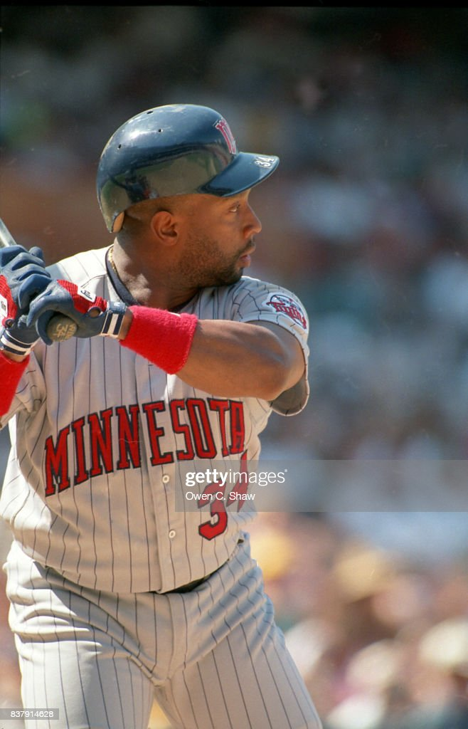 Kirby Puckett of the Minnesota Twins bats against the California Angels at the Big A circa 1994 in Anaheim,California.