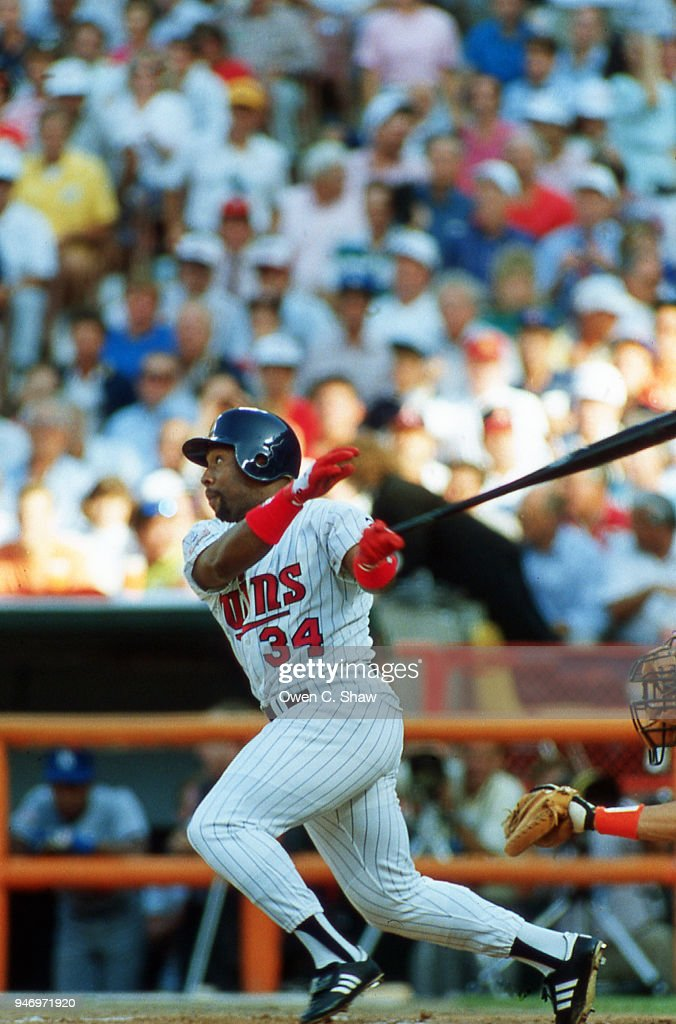Kirby Puckett of the Minnesota Twins bats at the 1989 MLB All Star Game played at the Big A circa 1989 in Anaheim,California.