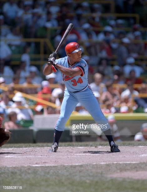 Kirby Puckett of the Minnesota Twins bats during a MLB game at Comiskey Park in Chicago, Illinois. Puckett played for the Minnesota Twins from...