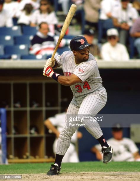 Kirby Puckett of the Minnesota Twins bats during an MLB game at Comiskey Park in Chicago, Illinois. Kirby Puckett played for the Minnesota Twins from...