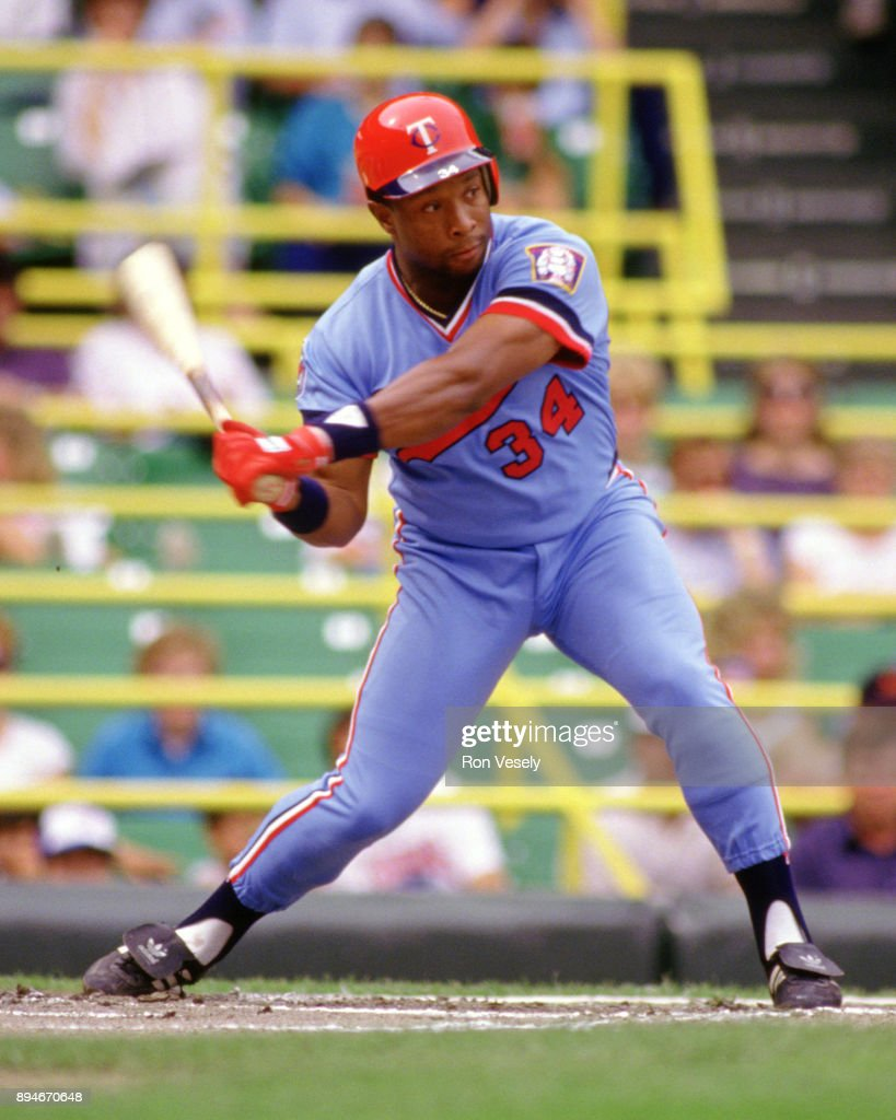 Kirby Puckett of the Minnesota Twins bats during an MLB game versus the Chicago White Sox at Comiskey Park in Chicago, Illinois.