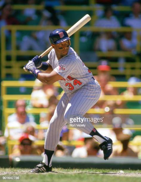 Kirby Puckett of the Minnesota Twins bats during an MLB game versus the Chicago White Sox at Comiskey Park in Chicago Illinois during the 1987 season