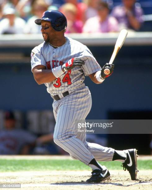 Kirby Puckett of the Minnesota Twins bats during an MLB game versus the Chicago White Sox at Comiskey Park in Chicago Illinois during the 1995 season