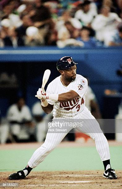 Kirby Puckett of the Minnesota Twins bats during the 1991 MLB All Star Game at the SkyDome on July 9 1991 in Toronto Ontario Canada