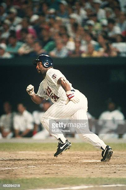 Kirby Puckett of the Minnesota Twins bats during the 64th MLB AllStar Game against the National League at Camden Yards on Tuesday July 13 1993 in...