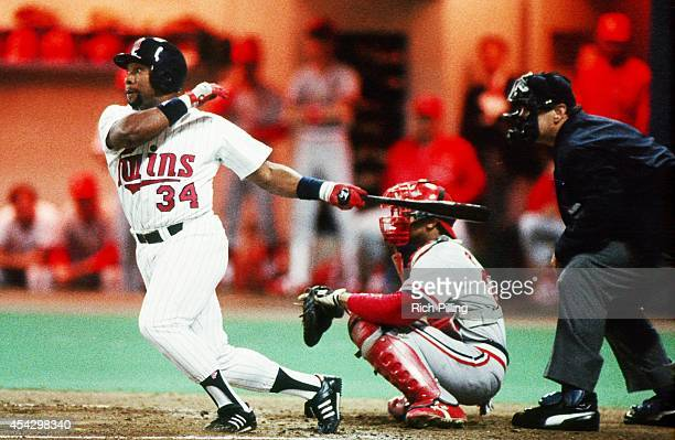 Kirby Puckett of the Minnesota Twins bats during World Series game six between the St Louis Cardinals and Minnesota Twins on October 24 1987 at...