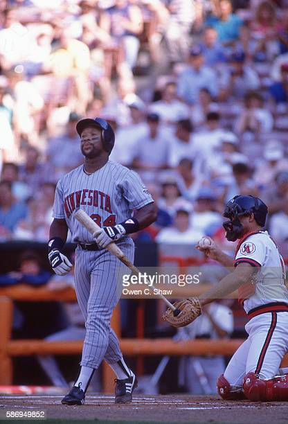Kirby Puckett of the Minnesota Twins circa 1986 bats against the California Angels at the Big A in Anaheim California