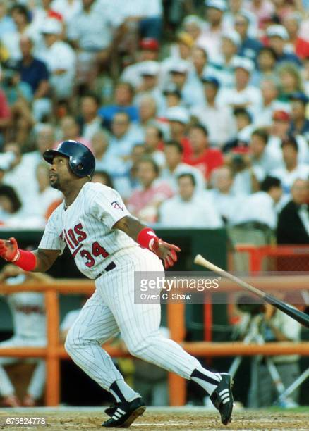 ANAHEIM CA Kirby Puckett of the Minnesota Twins circa 1989 bats at the 1989 MLB All Star game at the Big A in Anaheim California