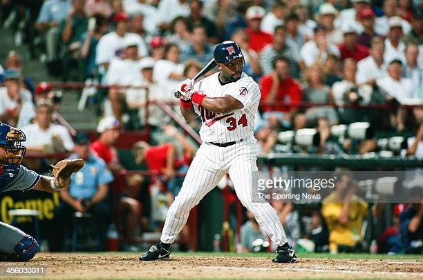 Kirby Puckett of the Minnesota Twins during the 1995 All Star Weekend on July 10 1995 at The Ballpark at Arlington in Arlington Texas